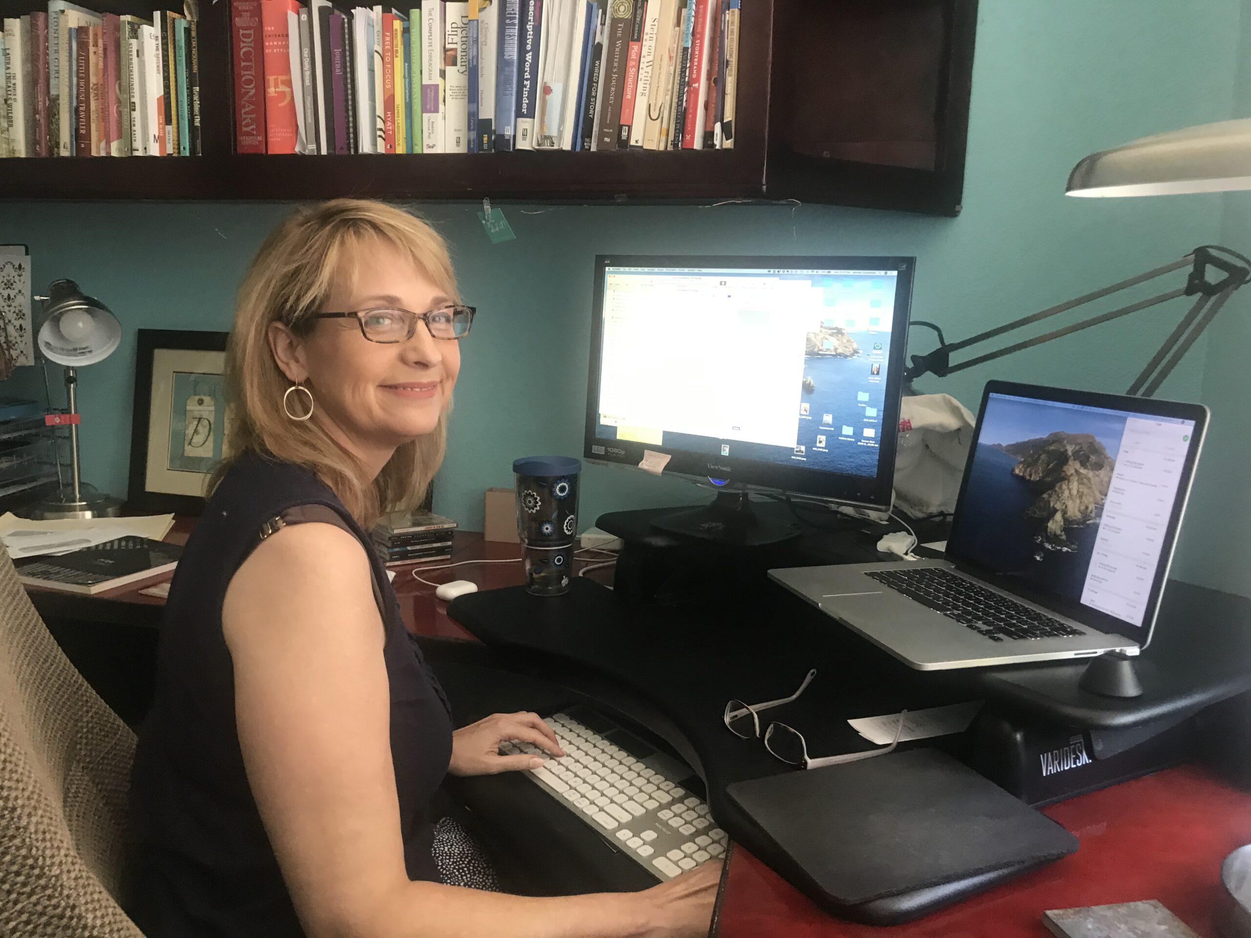 Jennifer Crosswhite at her desk