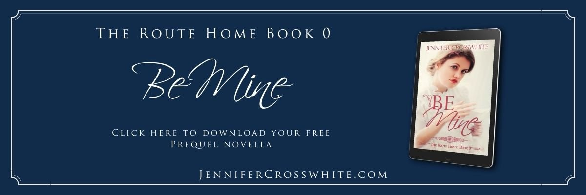 Be Mine: The Route Home Book 0 by Jennifer Crosswhite. Click here to download your free prequel novella. Be Mine book cover on a tablet.